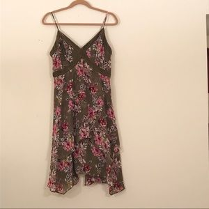 White House Black Market floral velvet trim dress